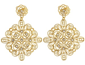 1512590_Gold-plated silver earrings with crystals