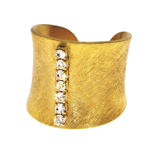 1512948_Gold-plated metal ring with crystals
