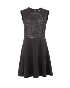 BLACK PONTE  & ORGANZA FIT N FLARE DRESS 1