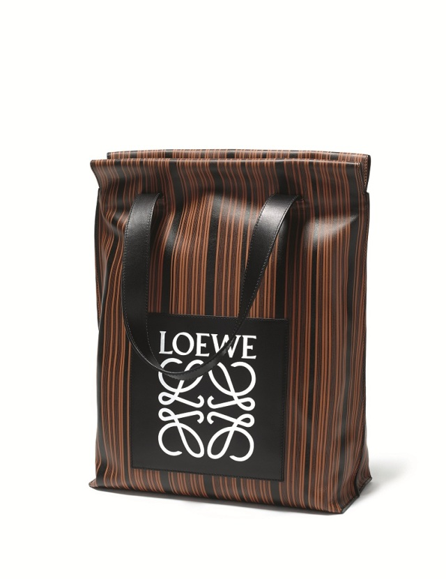 Striped Leather Tote with Patch loewe