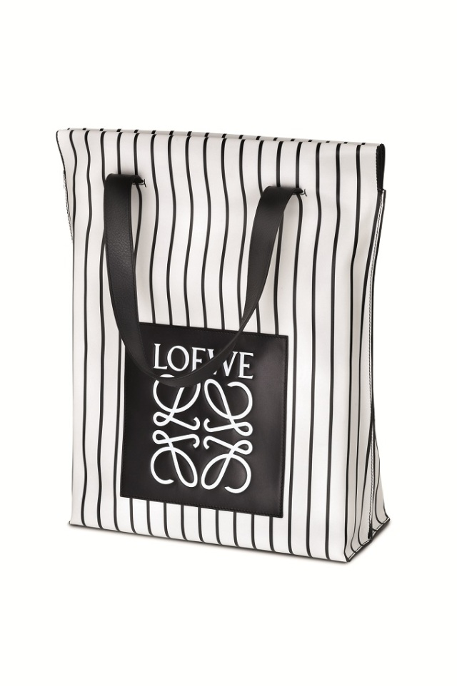Striped White Leather Tote with Patch loewe
