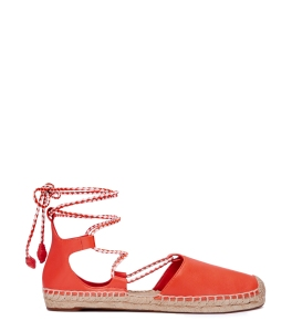 Positano Lace Up flat Espadrilles in Red