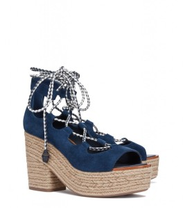 Positano Lace Up Platform Espadrille in Bright Navy